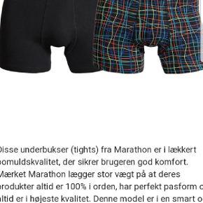 Marathon boxershorts , stadigvæk i æske . 2pak tights i størrelse L .  Ny pris 150 ,-   Sælges for 100 ,-