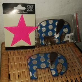 Fine stryge- / påsyningsmærker til tøj, puder eller andet. 2 stk. Elefanter og 1 neonpink stjerne. Elefanter cirka 12 cm, stjerne cirka 8 cm.  Tror ikke, de fås længere. Ikke elefanterne i hvert fald.
