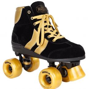 Rookie roller skates sort/guld Brugt få gange så fremstår fine  The retro roller skates have a stylish, vintage feel - inspired by classic high-top sneakers. They feature double chevron panels to complete the look. With their suede material, these quad skates are designed for recreational skating but can also be used for exercise on medium distances. They have good comfort and will have you gliding and grooving as soon as you put them on. The retro roller skates come with a nylon frame with aluminum hangers that make the skate lightweight, which is nice for longer skate sessions in the city or at the roller disco rink.