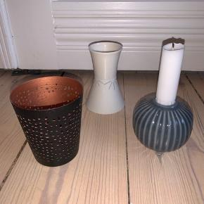 Anne Black vase i hvid, Kähler lysestage i blå, Home Decor sort til fyrfadslys. BYD