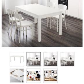 Spisebord med 4 stole fra IKEA. Bordet har en lille skade, som ses på billedet.