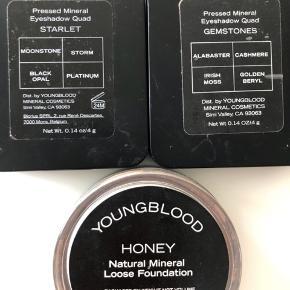 Oprydnings salg af  Youngblood øjenskygger  Starlet 4 farver brugt 2 gange  Gemstones 4 farver brugt 8-12 gange  HONEY loose Foundation er SOLGT !!
