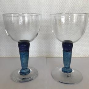 2 glas fra glaspuster Lene Højlund, brugt få gange. 16cm høje og 9 cm i diameter.