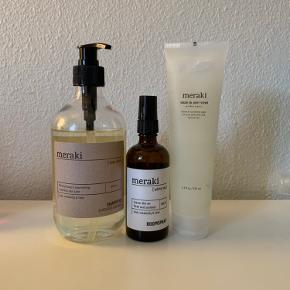 Sælges samlet   •Meraki Shampoo Silky Mist 490 ml •Meraki Roomspray 100 ml •Meraki Sugar Oil Body Scrub 150 ml