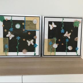 Malerier i ramme str. 44x44 cm