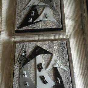 To små billeder med deko af glas