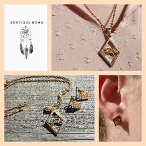 Flot halskæde med tilhørende øreringe. Pris er for hele sættet.  Fragt 25,-  Se flere smykker under profilen.