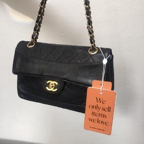 Chanel Timeless Black Leather Sacs A Main Single Flap Double Chain - Vintage - 25x15,5x7,5 - fair condition