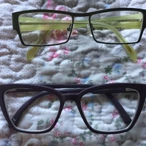 4 par briller sælges, styrke omkring - 2,00  1 par grønne købt hos lokal optiker Beta titanium 1 par lilla Alain Mikli - købt lokal optiker Sorte med stribede stænger - købt Thailand 1 par aubergine - smart eyes for et år siden  Sælges da jeg er opereret i øjnene og ikke kan bruge dem mere .  Porto betales af køber med 45 kr.