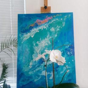 Original abstrakt blå akrylmaleri på lærred, der er ingen fastlagt konklusion, og fortolkningen sættes fri. Størrelse 60x80cm