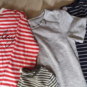 Fin tøjpakke i str. S - min datter har brugt det som 14- årig (almindelig str) 4 par bukser - ukendt i grøn - røde Adidas (her en revne tråd se billed) - sorte Only - mønstret fra Only 2 kjoler - grå Only - Stribet HM 2 t-shift - rød stribet Only - rosa Only 3 langærmet - rød stribet fra HM - khaki stribet HM - Rosa sweatshirt HM Alt er meget pænt og velholdt.  BYD gerne og kig forbi mine andre annoncer og spar penge også på portoen 😉