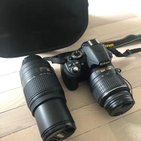 Nikon spejlreflekskamera, i meget god stand. En almindelig linse, samt en zoom linse, og lader og taske medfølger.