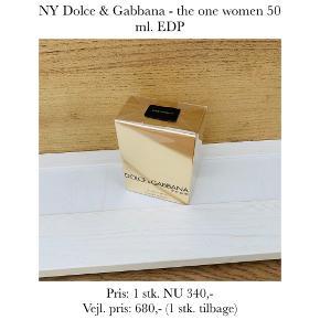 NY Dolce & Gabbana - the one women 50 ml. EDP  Pris: 1 stk. NU 340,-  Vejl. pris: 680,- (1 stk. tilbage)   Se også over 200 andre nye produkter, som jeg har til salg herinde :-)
