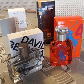 4 lækre herre parfumer, dufte: 1. Ralph Lauren Big Pony Collection 4 (orange) Over halvdelen tilbage. Købspris ca. 429,- 2. David Beckham - brugt 2-3 gange. Købspris ca. 199,- 3. Issey Miyake - ca. halvdelen tilbage. Købspris ca. 199,- 4. Trendy Boy 100 ml. - HELT NY og ubrugt. Købspris ca. 69,- Sælges evt. samlet for kr. 250,- - eller giv gerne et samlet bud på prisen.  Sælges også hver for sig. Giv et bud :)