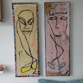 Sælger disse malerier malet på lærred 1500 kr for 2, 800 kr. For 1 85 x 29 cm  Følg med på min profil, flere malerier er til salg.