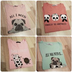 7 forskellige T-shirt. Brugt få gange. Et par enkelte er slet ikke brugt. Størrelsene er L og XL da de er små de størrelsen men det passer mig som er str. M.