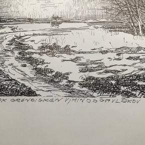 """Tegning/grafik af Erik Holbech Mortensen """"En flok grønsisken v/ Hindsgavl Skov 1999""""  Størrelse: 30x40 cm.   Enkelte håndteringsspor.   Sender gerne 👀"""