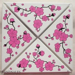Brand: DIY Varetype: Cherry Blossom trekanter - kirsebær blomster - blomst Størrelse: 29x29 Farve: - Denne vare er designet af mig selv.  Eget design. De er malet med Akrylmaling på lærred. Signeret.  Lad ikke malerierne røre hinanden, da de kan klister sammen. Egen påsætning af ophængning  De kan hænges som man ønsker (: Sammensat som en firkant måler de ca.29x29cm   250pp. for 4 stk. trekanter.     * * * Se også mine andre annoncer * * *
