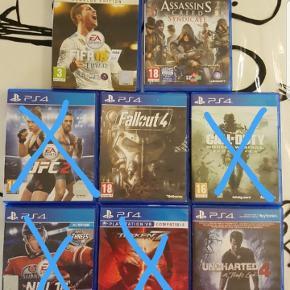 Sælger disse PlayStation 4 spil, da de ikke rigtig bliver brugt mere.    UFC 2 SOLGT FALL OUT 20 KR NHL 18 SOLGT TEKKEN 7  SOLGT CALL OF DUTY SOLGT FIFA 18 100 KR  UNCHARTED 4 50 KR ASSASSINS CREED 150