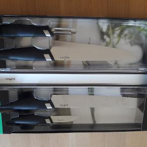 Raadvad knivsæt. 4 knive og en knivmagnet 35 cm. Kokkekniv, Urtekniv, Brødkniv, Skrællekniv