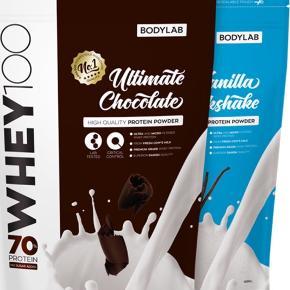 Bodylab Whey 100 (1 kg)   Smagen er Vanilla Milkshake.   Jeg har tre poser, og de sælges enkeltvis til 125 kr. Ny pris var 170 kr 😊  De er aldrig åbnet og købt for to måneder siden.