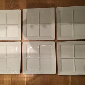 Porcelæn, Tallerkner, ubrugte, PILLIVUYT  Der er 6 firekantede tallerkner. Str. 26x26cm.  Pris for alle 600kr.