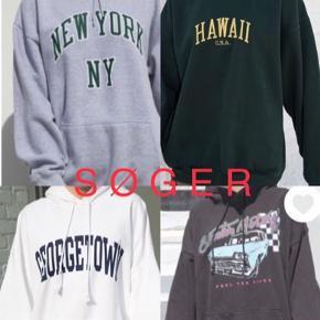 S Ø G E R S ø g e r  en Brandy Melville hoodie/hættetrøje/sweatshirt (gerne en af dem på billedet/en der minder om. Men også gerne i andre stile/forme/typer fx. En basic med lynlås)   -Søgeord- H&M, Zara, Weekday, Urban Outfitters, Monki, vintage, retro, genbrug, 90s, 90er, 90'er, grøn, blå, hvid, sort, Monki, sport, crop top, trøje, top, sweater, New York, S, L, oversized