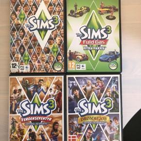 Sims 3 + udvidelsespakker Sims 3 fuld gas Sims 3 verdenseventyr Sims 3 drømmejob Til pc og mac  50 kr. pr spil 175 kr. for alle 4  Kan sendes mod betaling eller afhentes