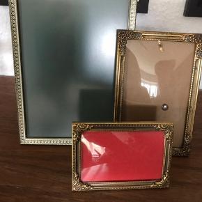 """3 gammel meget flotte """"guld"""" rammer  Str. 18x13 cm Str. 14x9 cm buet glas kan ikke stå selv Str. 10x7 cm buet glas"""