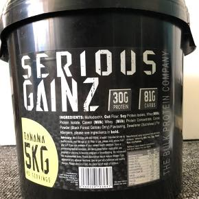 Sælger en nyåbnet 5KG Serious Gainz proteinpulver. Sælger da jeg ikke kunne lide smagen. Der er kun brugt lidt af den.  Normalpris: 275 - min pris 170.  Holdbarhedsdato: 2020