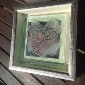 Rikke Pape glasbillede  Måler 17x17 cm