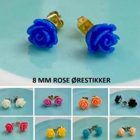 Rose øreringe, 8 mm Ørestikker af nikkelfrit, kirurgisk stål  1 par 20,- / 3 par 50,- / 5 par 75,- (Tilbuddet kan matches med mine øvrige annoncer med samme tilbud)  SG Smykkedesign
