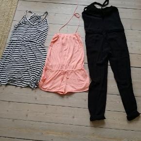 Sommertøj kjole, buksedragt og mbym ( XS men stor)  heldragt alt str. S. Samlet pris 225 plus 38 i fragt.