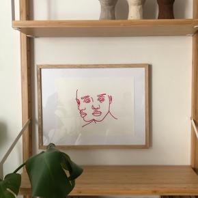 Faces 💫 Tegnet med rød pen ✨ 30x22 cm  Kan laves i andre farver pr. Bestilling 💫   Kan laves i andre farver pr. Bestilling ✨