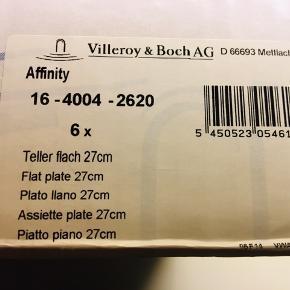 Villeroy & Boch Affinity  6 styk Middagstallerkener Nye og i uåbnet kasse Diameter 27 cm Skal afhentes på Nørrebro i KBH Nypris 900kr Se alle 3 billeder