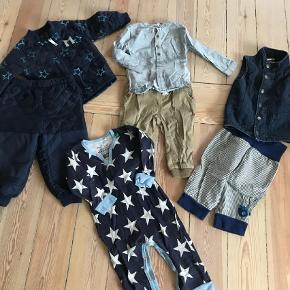Brand: Wheat, småfolk, Enfant, Norlie, pdl osv.  Varetype: Tøjpakke Størrelse: 80 Farve: Multi Oprindelig købspris: 5500 kr.  Blandet luksus pose fyldt med lækkert tøj i kvalitetsmærker. Det meste er nyt, andet kun brugt få gange og noget gmb. Indeholder Termotøj, 9 par bukser, 1 fleece, 5 trøjer, 2 skjorter, nattøj, heldragt, 1 vest, 2 bluser, 2 bodyer. Uld og bomuld. Dyre mærker som Enfant, Norlie, Hummel osv. Nypris for det hele er ca 5500kr.