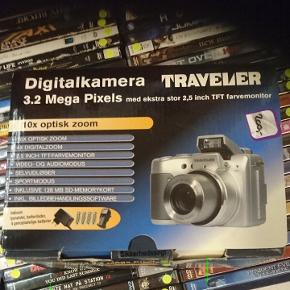 Traveler digitalkamera. 3.2 meget pixel. Mangler 4 almindelige batterier.