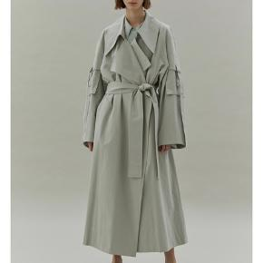 """Korean """"it"""" designer LOW CLASSIC trench coat in mint green, 100% cotton. Oversized with belt and back vent. Very cool!"""