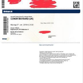 Sælger 1 koncertbillet til Conor Maynard i Store Vega, mandag D. 7. oktober 2019 kl. 21:00.  Sælges for 260 kr evt plus Porto hvis de skal sendes med posten, og ellers bliver de sendt via messenger eller e-mail, så man selv kan printe dem ud. Skriv PB for mere info