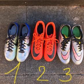 Brugte Nike fodboldstøvler:  1. Str. 40 - 25 cm - sålen mangler, da der har været indlæg i. PRIS: 50 kr.   2. Str. 40 1/2 - 25,5 cm - modellen hedder Mercurial CR7. PRIS: 75 kr.   3. Str. 41 - 26 cm - modellen hedder Hypervenom. Den ene er lidt falmet. PRIS: 75.   Sender gerne, men du er også velkommen til at hente kontaktfri med mobilepay😊
