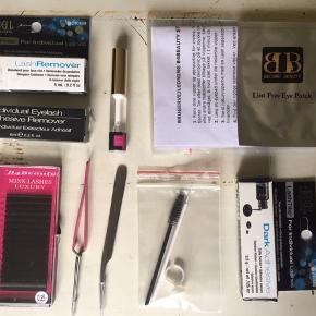 Single lash kit, købt med intention om at lære det, men kom aldrig igang med det. Kittet er aldrig brugt. Det indeholder to tænger til applikation, en børste til at rede vipperne, en ring til at have lim i under applikation, en mikroswap til at påføre lashremover når vipperne skal fjernes, to 5ml lashremover, en 5ml primer, en 3,5g sort vippelim, et sæt eye patches, en kasse med syntetiske vipper i blandede størrelser - c kurve tykkelse 0.25. Sættet kommer med en brugervejledning. Kan sendes for modtagers regning :)  Prisen er fast ;)