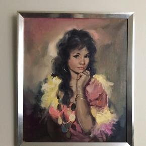 """Det er nummeret før """"grædende barn"""", men jeg elsker det. Oliemaleri med motiv af smuk sigøjnerkvinde (eller mere politisk korrekt roma) fra 60'erne. I sølvmalet ramme og med signatur A. Zarda. 375kr #oliemaleri #kunst #kitch #galerivæg #billede #kunsttilvæggen #tilvæggen #maleri #fiduskunst #zarda"""