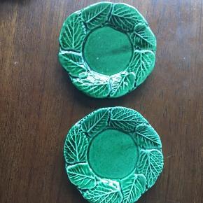 Grønne blad fajance underkopper? Små tallerkner 13 cm i diameter. Vintage retro