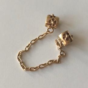 Sikkerhedskæde 5 cm. 14 kt. guld fra Pandora.