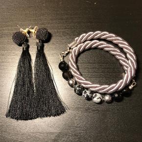 Håndlavet armbånd af tyk snor (ca 1 cm i diameter) med sten perler. Armbånd 50 kr. +10 kr for matchende øreringe. Priser ekskl. fragt.