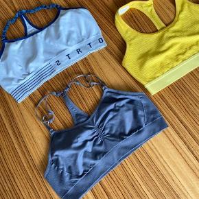 3 stk. træningstoppe i gul, grå og lyseblå sælges samlet.