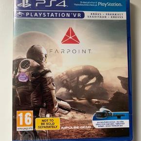PS4-spillet Farpoint.  Til PlayStation VR. Så udstyr skal bruges til dette spil.  Aldrig brugt.  Sender gerne med DAO.  MobilePay er meget velkomment.  Prisen er plus porto.  Bud er velkomne :-)