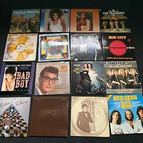 LP'er fra forskellige artister. De har nogle små skønshedsfejl, men selve LP'en fejler ikke noget.   10kr. pr. stk.  Den fulde liste:   Baccara - Light my Fire Beat Street Bee Gees - All time greatest hits Bill Haley & The Comets - Everybody can Rock and Roll Bill Haley and the Comets - The golden king of rock Buddy Holly - All time greatest hits Buddy Holly & the Crickets - 20 Golden Greats Buster Carpenters - The singles 1969-1973 Cliff Richard - 40 Golden Greats Diana Ross  Donna Summer Donna Summer - Cats without claws Earth and Fire - Reality Ekseption Ekseption - 3 Elvis - C'mon everybody Elvis - I was the One Elvis - Separate Ways Elvis - Sings for Children  Elvis - You'll never walk alone Elvis Presley - The king of Rock'n'Roll Europe - The final countdown Fats Domino - Jambalaya George Baker Selection - 5 years hits George Baker Selection - Paloma Blanca Golden Earring - North East West South Heroes of Rock'n'Roll 3 Hits 4 - The album Jesus Christ Superstar Leonard Cohen - Greatest Hits Louis Prima Louis Van Dyke - When a man loves a woman Madonna - Who's this girl? Metal Wars - A Heavy Metal Assault Miami Sound Machine - Bad Boy Remix Miami Vice 2 Michael Bolton - Time Michael Cassidy - Nature's Secret Modern Talking - Let's talk about love Mud's Greatest Hits Now this is music - 3 Pussycat - Souvenirs Rock Ballads Sailor Sailor - Trouble Schiager Rallye Sister Sledge - All American Girls Sun City  T'Pau The Andrews Sisters The best of Bread The best of Ekseption The best of the Trammps The Cats - Times were when The Every Brothers - The 20 greatest hits The Heavy Way The Hits album The Magic of Boney M - 20 Golden The Righteous Brothers - Superstarshine vol.27 The Shadows - 20 Golden Greats The Stud  Time to Rock Top 40 Rock Classics Village People - Cruisin' Whitney Whitney Houston