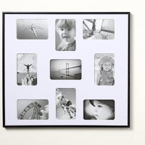 Sort aluramme til 9 billeder.  Måler 49,5 x 54,5 cm.  Sælges for 150 kr.