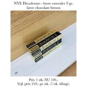 NYE Divaderme - brow extender 9 gr. farve chocolate brown  Pris: 1 stk. NU 100,-  Vejl. pris: 259,- pr. stk. (7 stk. tilbage)   Se også over 200 andre nye produkter, som jeg har til salg herinde :-)